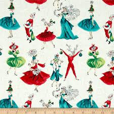 michael miller holiday gals cream discount designer fabric
