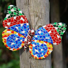 buy multi coloured mosaic wall mountable butterfly garden wall art