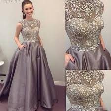 2017 modest prom dresses sparkly beaded crystal formal long
