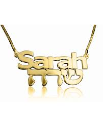 The Name Necklace Gold English Hebrew Name Necklace The Name Necklace