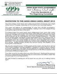 invitation to the akwa ibom state carol 2012 the