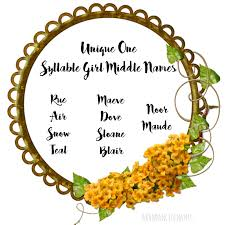 middle names ren s baby name unique one syllable middle names