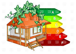 energy efficient house with green branches and arrows of indices