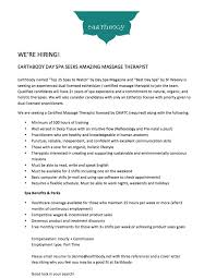 Cover Letter Massage Therapist Earthbody Day Spa Seeks Amazing Massage Therapist Sf Ca