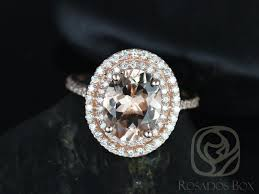 gold and morganite ring rosados box cara 10x8mm gold oval morganite halo