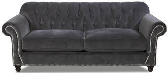 Klaussner Couch Sofa With Tufted Back Flynn Traditional Sofa With Button Tufted