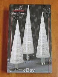 handpainted glass christmas tree set 3 cone shape 11 12 75 14 75
