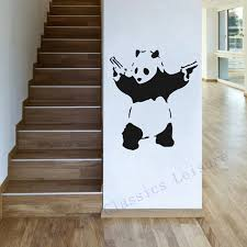 free shipping banksy panda waving hand guns wall decal sticker free shipping banksy panda waving hand guns wall decal sticker vintage street art banksy decorative stickers for laptop wall in wall stickers from home