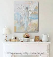 Modern Art Home Decor Giclee Print Abstract Angel Painting Modern Gallery Wall Art Blue