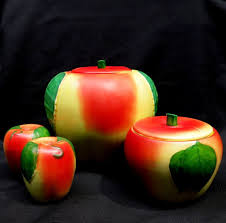 hull pottery apple set cookie jar grease jar salt u0026 pepper