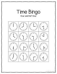 telling time half hour telling time bingo to the hour and half hour tpt