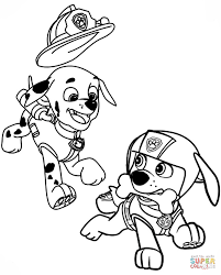 paw patrol marshall with fire truck coloring page firetruck color