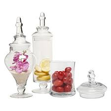 Designer Clear Glass Apothecary Jars 3 Piece Set Decorative