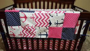 nautical baby crib bedding pink anchors navy dot pink