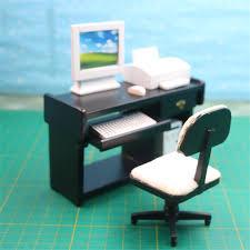 Mini Computer Desk Doub K 1 12 Wooden Dollhouse Furniture Miniature Simulation