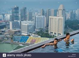 singapore marina bay swimming pool on the rooftop of marina bay