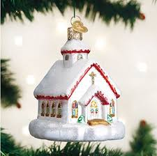 old world christmas country church handcrafted hanging tree