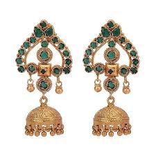 big jhumka gold earrings missori green top gold plated big jhumka by missori in