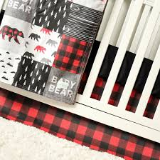 Woodland Nursery Bedding Set by Baby Bear Woodlands Crib Bedding Red Plaid Gray Black Trees