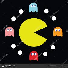 pac man surrounded by his enemies u2014 stock vector maxterdesign
