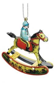 rocking ornament colorful mini tin jockey