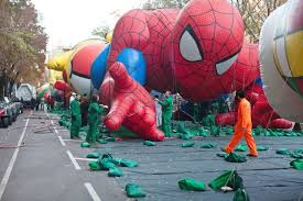 photos blowing up the big balloons for macy s parade