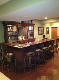 modern bar idea for basement with cool leather bar chairs and
