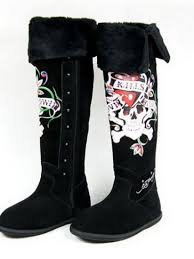 womens boots burning ed hardy brand clothes cheap womens boots burning skeleton with