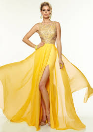 buy tailor made new style round neck open back high slit chiffon