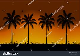 Sunset Orange by Vector Realistic Palm Trees Silhouette Sunset Stock Vector
