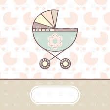 newborn greeting card with perambulator vector clipart image