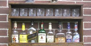 Open Bar Cabinet Bar Painted Open Diy Liquor Cabinet With Hanging Glass Rack And