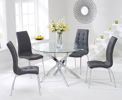 chrome round dining table daytona 110cm glass chrome round dining table with 4 charcoal