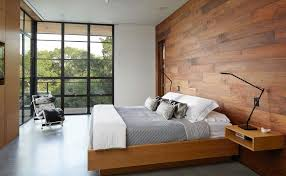 modern bedroom with village style using wooden wall and window