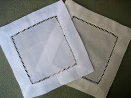 dozen ecru hemstitched linen cocktail napkins