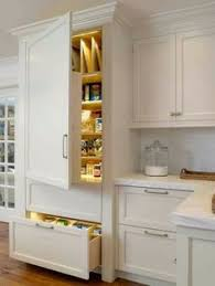 Pantry Kitchen Cabinet Off White Kitchen Cabinet With Wire Brushed White Oak Flooring And