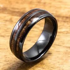 ceramic rings images Ceramic ring with hawaiian koa wood 6mm 8 mm width barrel jpg