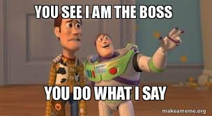 I Say Meme - you see i am the boss you do what i say buzz and woody toy story