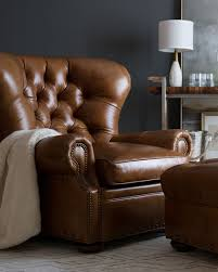 brown chair and ottoman lansbury tufted leather chair ottoman