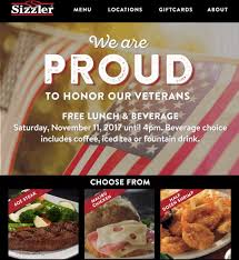 sizzler veteran s day special discount free lunch 2017