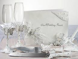 wedding guest book and pen set butterfly wedding guest book flutes and server accessory