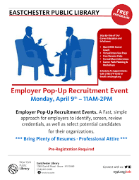 Free Job Seekers Resume by Ceis Eastchester Library Employer Pop Up Recruitment Event The