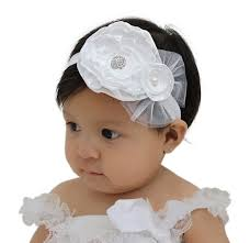baby flower headbands baptism headband white baby headband flower girl headband