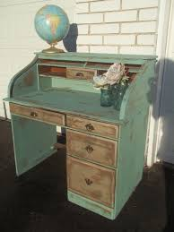 sold gorgeous distressed turquoise gold shabby chic roll top desk