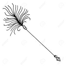 high quality original illustration of arrow with feathers