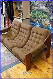 vintage mid century modern tufted sofa 70s lafer style sling couch