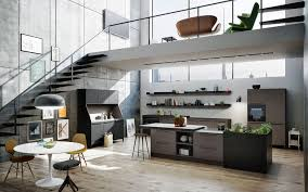 Show Cabinets Cabinets In Stone And Concrete Dominate At Living Kitchen 2015