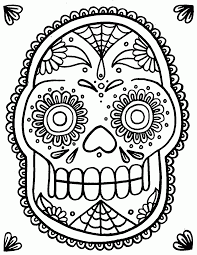 simple sugar skull coloring pages coloring home