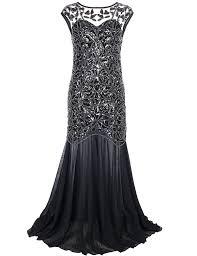 Long Dresses For Cocktail Party - amazon com prettyguide women u0027s 1920s black sequin gatsby maxi