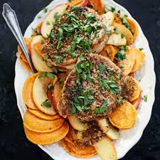 sautéed pork chops with sweet potato apples and mustard sauce